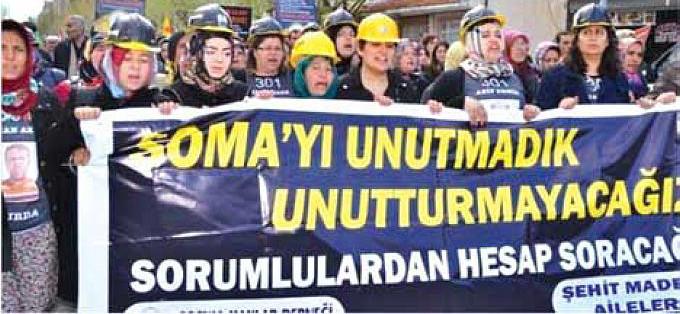Somalı Madenci Aileleri 10 Mayıs 2015 günü katliamın yıl dönümü haftasında Soma Katliamının unutulmaması ve unutturulmaması, sorumlularından hesap sorulabilmesi için eylemdeler